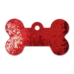 Sequin and Glitter Red Bling Single-sided Dog Tag (Bone)