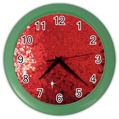 Sequin and Glitter Red Bling Colored Wall Clock