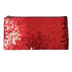 Sequin And Glitter Red Bling Pencil Case