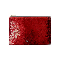 Sequin and Glitter Red Bling Medium Makeup Purse