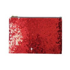 Sequin And Glitter Red Bling Large Makeup Purse