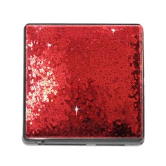 Sequin and Glitter Red Bling Card Reader with Storage (Square)