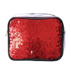 Sequin and Glitter Red Bling Single-sided Cosmetic Case