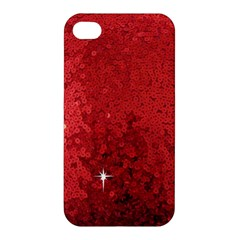 Sequin And Glitter Red Bling Apple Iphone 4/4s Hardshell Case