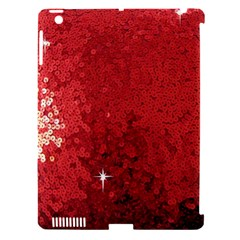 Sequin And Glitter Red Bling Apple Ipad 3/4 Hardshell Case (compatible With Smart Cover)