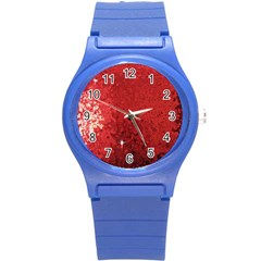 Sequin And Glitter Red Bling Round Plastic Sport Watch Small