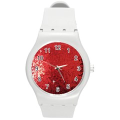 Sequin And Glitter Red Bling Round Plastic Sport Watch Medium