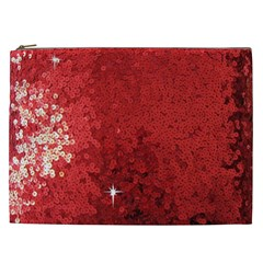 Sequin And Glitter Red Bling Cosmetic Bag (xxl)