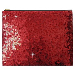 Sequin And Glitter Red Bling Cosmetic Bag (xxxl)