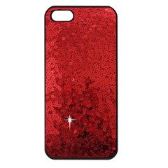 Sequin and Glitter Red Bling Apple iPhone 5 Seamless Case (Black)