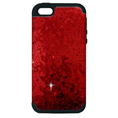Sequin And Glitter Red Bling Apple Iphone 5 Hardshell Case (pc+silicone)