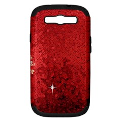 Sequin and Glitter Red Bling Samsung Galaxy S III Hardshell Case (PC+Silicone)
