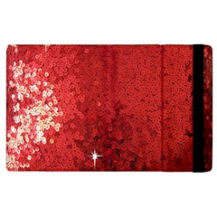Sequin and Glitter Red Bling Apple iPad 3/4 Flip Case