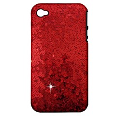 Sequin and Glitter Red Bling Apple iPhone 4/4S Hardshell Case (PC+Silicone)
