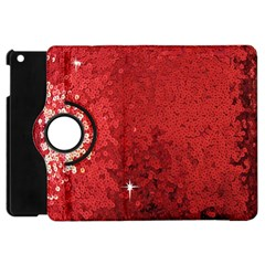 Sequin and Glitter Red Bling Apple iPad Mini Flip 360 Case