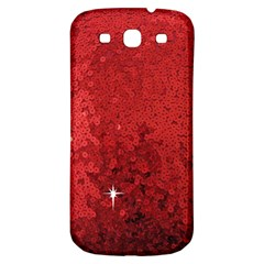 Sequin and Glitter Red Bling Samsung Galaxy S3 S III Classic Hardshell Back Case