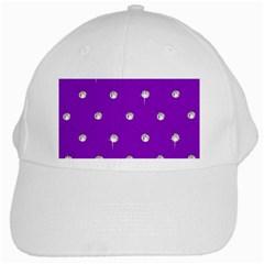 Royal Purple and Silver Bead Bling White Baseball Cap