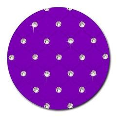 Royal Purple And Silver Bead Bling 8  Mouse Pad (round)