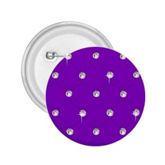 Royal Purple and Silver Bead Bling Regular Button (Round)
