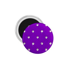 Royal Purple And Silver Bead Bling Small Magnet (round)