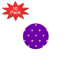 Royal Purple and Silver Bead Bling 10 Pack Mini Button (Round)