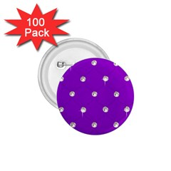 Royal Purple and Silver Bead Bling 100 Pack Small Button (Round)