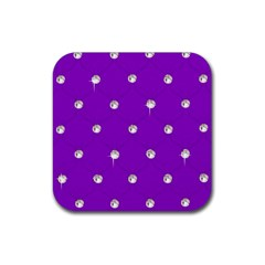 Royal Purple and Silver Bead Bling Rubber Drinks Coaster (Square)