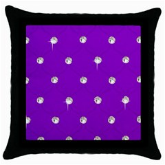 Royal Purple and Silver Bead Bling Black Throw Pillow Case