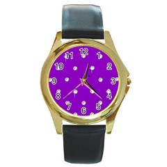 Royal Purple and Silver Bead Bling Black Leather Gold Rim Watch (Round)