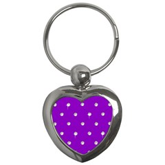 Royal Purple and Silver Bead Bling Key Chain (Heart)