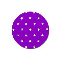Royal Purple and Silver Bead Bling Large Sticker Magnet (Round)