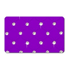 Royal Purple and Silver Bead Bling Large Sticker Magnet (Rectangle)