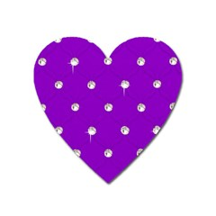 Royal Purple And Silver Bead Bling Large Sticker Magnet (heart)