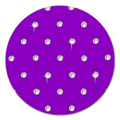 Royal Purple and Silver Bead Bling Extra Large Sticker Magnet (Round)