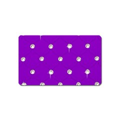 Royal Purple and Silver Bead Bling Name Card Sticker Magnet