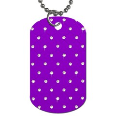 Royal Purple and Silver Bead Bling Single-sided Dog Tag