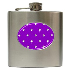 Royal Purple and Silver Bead Bling Hip Flask