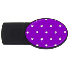 Royal Purple and Silver Bead Bling 1Gb USB Flash Drive (Oval)