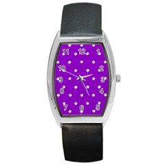 Royal Purple And Silver Bead Bling Black Leather Watch (tonneau)