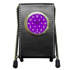 Royal Purple and Silver Bead Bling Stationery Holder Clock