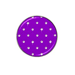 Royal Purple And Silver Bead Bling Golf Ball Marker (for Hat Clip)