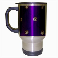 Royal Purple And Silver Bead Bling Brushed Chrome Travel Mug