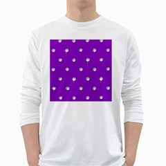 Royal Purple And Silver Bead Bling White Long Sleeve Man''s T Shirt