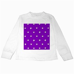 Royal Purple and Silver Bead Bling White Long Sleeve Kids'' T-shirt
