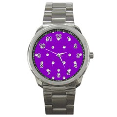 Royal Purple and Silver Bead Bling Stainless Steel Sports Watch (Round)