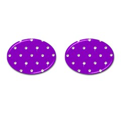 Royal Purple and Silver Bead Bling Oval Cuff Links