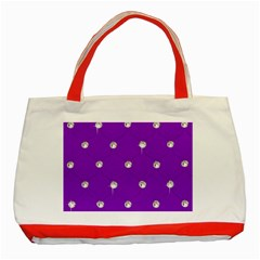 Royal Purple and Silver Bead Bling Red Tote Bag