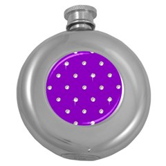 Royal Purple And Silver Bead Bling Hip Flask (round)