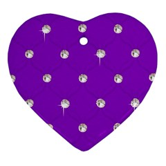 Royal Purple And Silver Bead Bling Heart Ornament (two Sides)