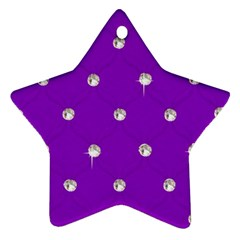 Royal Purple and Silver Bead Bling Twin-sided Ceramic Ornament (Star)